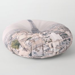 A View of the Eiffel Tower in Paris Floor Pillow