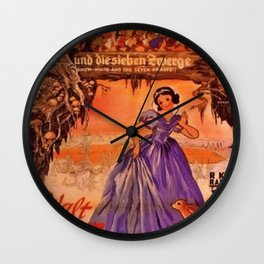 1937 Vintage Snow White and the Seven Dwarfs German Market Movie Poster Wall Clock
