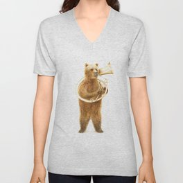 The Bear and his Helicon Unisex V-Neck