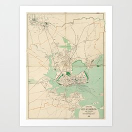 Vintage Map of Portland ME (1906) Art Print