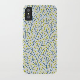 Berry Branches - Lime & Blue iPhone Case