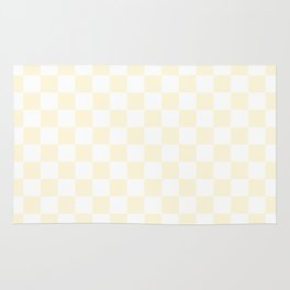 Small Checkered - White and Cornsilk Yellow Rug