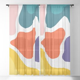 Colorful Pattern Design Sheer Curtain