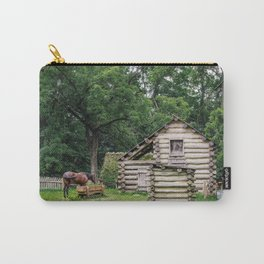 A horse in front of an old farm house Carry-All Pouch