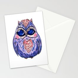 Watercolor hand drawn owl in purple Stationery Cards