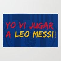 messi Area & Throw Rugs featuring  YO VI JUGAR A LEO MESSI (FCB) by Alberto Lamote de Grignon