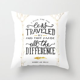 The Road Not Taken By Robert Frost Throw Pillow
