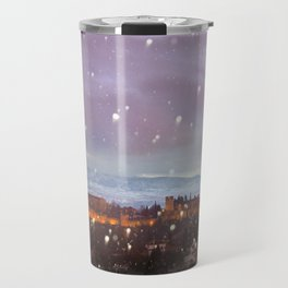 Snowing in the Alhambra, Granada, Spain at sunset Travel Mug