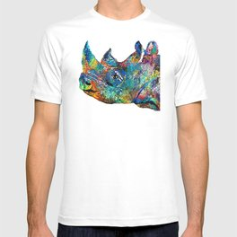Rhino Rhinoceros Art - Looking Up - By Sharon Cummings T-shirt