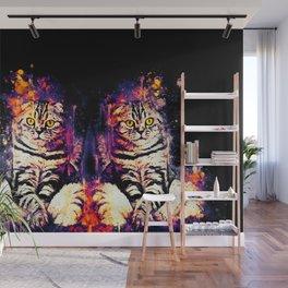 cat sitting like human ws fn Wall Mural