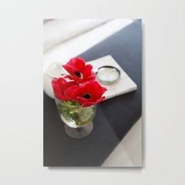 Flowers in Bed Metal Print