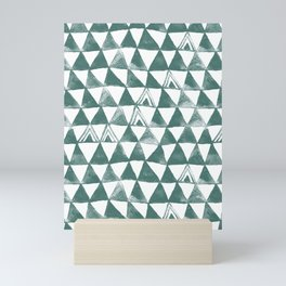 Green Tribal Triangles Mini Art Print