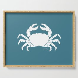 Crab Teal Background Serving Tray