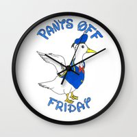donald duck Wall Clocks featuring Pants Off Friday - Donald Duck by Bianca McKay