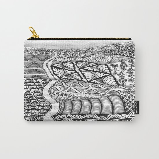Zentangle Fields of Dream Black and White Adult Coloring Illustration Carry-All Pouch
