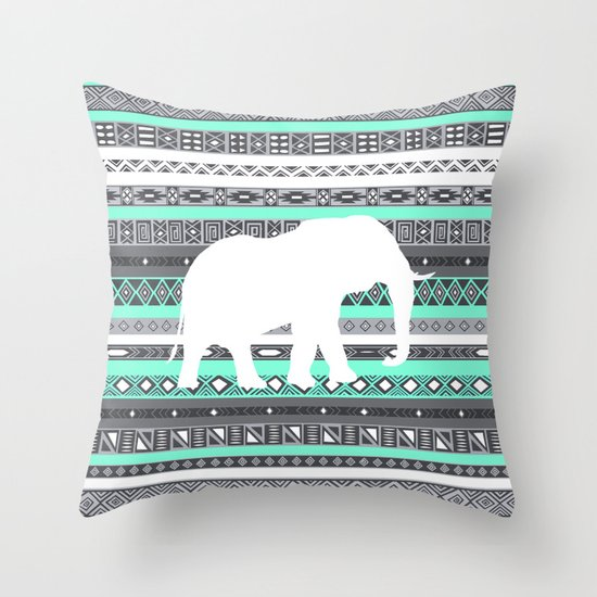 Tiffany Aztec White Elephant Pattern Design Throw Pillow