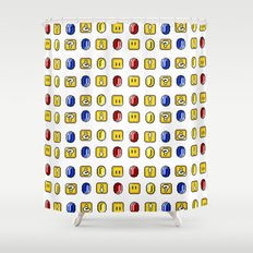 Coins, Boxes and Power ups, Oh my! Shower Curtain