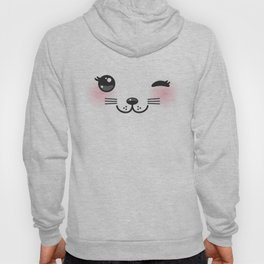 Kawaii funny cat with pink cheeks and winking eyes on white background Hoody