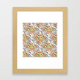 Floral pattern on a tiger background . Framed Art Print