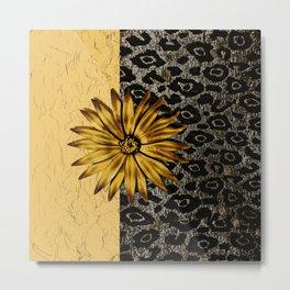 ANIMAL PRINT BLACK AND GOLD FLOWER MEDALLION Metal Print