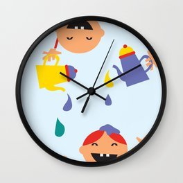 Kids pouring happiness Wall Clock
