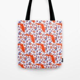 Florida University silhouette orange and blue pattern sports football college gators gator fan Tote Bag