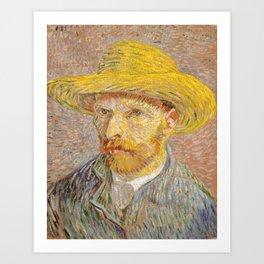 Vincent van Gogh - Self-Portrait with a Straw Hat - The Potato Peeler Art Print