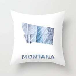 Montana map outline Light steel blue clouded wash drawing Throw Pillow