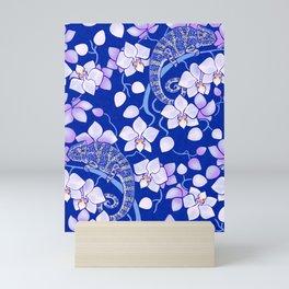 Chameleons and orchids - night Mini Art Print