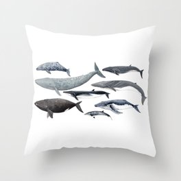 Whales and right whale Throw Pillow