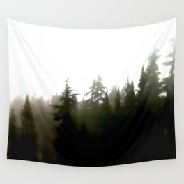 Fir forest silhouette in foggy grayscale Wall Tapestry
