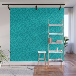 Abstract retro summer teal groovy pattern Wall Mural