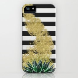 Modern plant and gold dust design iPhone Case