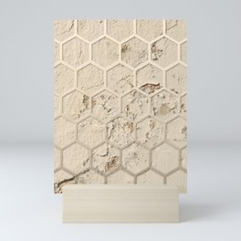 Hexagon on Beige Grunge Wall Mini Art Print