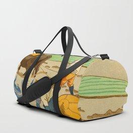Asano Takeji Rice Transplantation Vintage Japanese Woodblock Print Asian Farmers Sedge Hat Duffle Bag