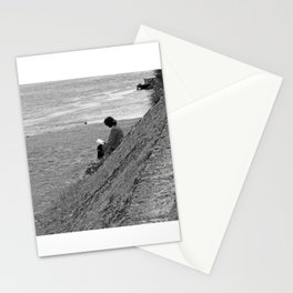 Woman Reading on Hill in France - Black and White Stationery Cards