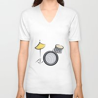 drum V-neck T-shirts featuring Drum Set by shopaholic chick