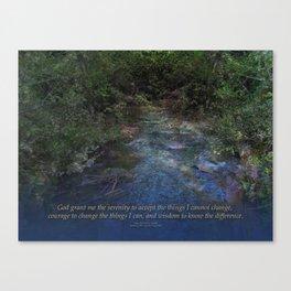 Serenity Prayer Blue Creek Canvas Print