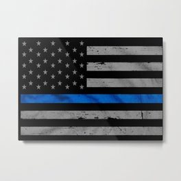 Thin Blue Line Metal Print