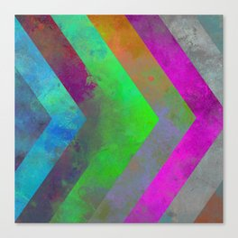 Textured Direction - Abstract, multi coloured, geometric painting Canvas Print