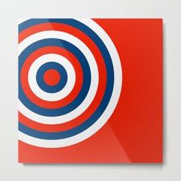 Retro Circles Pop Art - Red White & Blue Metal Print
