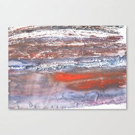 Blue orange marble wash drawing texture Canvas Print