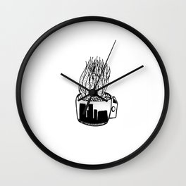 Cactus in a Cup Pen Drawing Wall Clock