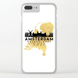 AMSTERDAM NETHERLANDS SILHOUETTE SKYLINE MAP ART Clear iPhone Case