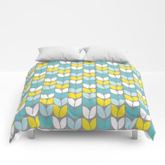 Tulip Knit (Aqua Gray Yellow) Comforters