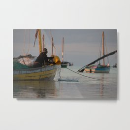 Fisherman in the Morning Light Metal Print