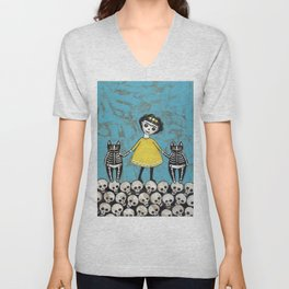 Day of the Dead Cats - Yellow Unisex V-Neck