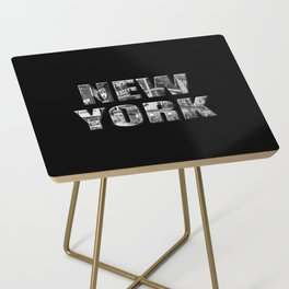 New York (black & white photo type on black) Side Table