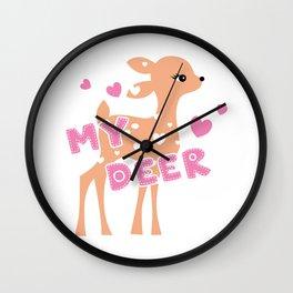 My deer - Deer clipart - Cute deer Wall Clock