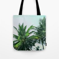 palm trees Tote Bags featuring Palm Trees by Sweet Karalina